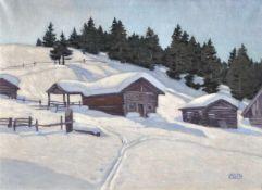 Erwin Merlet (Wien/Vienna 1886 – Bozen/Bolzano 1939)Winterlandschaft mit Stadeln (wohl Hafling),