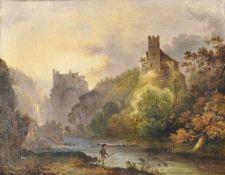 Karl (Vinzenz) Moser d. Ä. (Bozen/Bolzano 1819 – 1882)Schloss Ried und Schloss Runkelstein;Öl auf