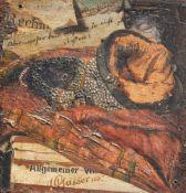 Georg Gasser Der leere Geldbeutel, 1887;Öl auf Holz, 9,8 x 9,6 cm, zeitgenössischer Rahmen