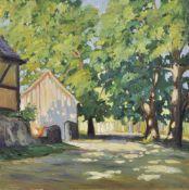 Lois Alton (Krumau 1894 – Innsbruck 1972)Anwesen im Sommer, 1924; Öl auf Karton, 49,5 x 49,5 cm