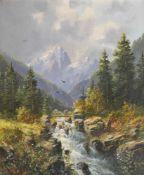 Ludwig Fürst (Bayreuth 1887 – 1950)Wildbach im Gesäuse, Steiermark; Öl auf Holz, 31,5 x 25,5 cm,