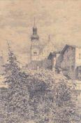 Ernst Loesch (Abtswind, Franken 1860 – Dinkelsbühl 1946)Hall in Tirol, 1923;Bleistift, 18 x 12 cm (