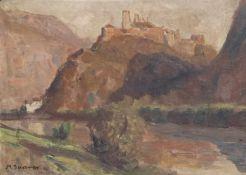 Max Sparer Schloss Sigmundskron bei Bozen;Öl auf Karton, 34 x 47 cm, gerahmt Signiert