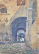 Erwin Puchinger (Wien/Vienna 1875 – 1944)Die Trostburg im Eisacktal, Schlosshof,1913;Aquarell, 36,