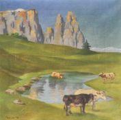 Josef Fiene Kuhweide vor Schlern, 1926;Öl auf Leinwand, 50 x 50 cm, gerahmt Signiert u. datiert