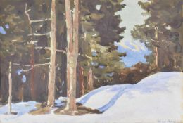 Max Angerer (Schwaz 1877 – 1955)Tiroler Winterlandschaft;Gouache auf Papier, 17,2 x 26 cm, gerahmt