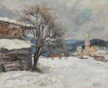 Emanuel Fohn (Wien/Vienna 1886 – Bozen/Bolzano 1939)Kastelruth im Winter;Ölgemälde, 58 x 71,5 cm