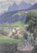 Richard Wolff (Esseg 1880 – Bozen/Bolzano 1964)Villnöss;Öl auf Malkarton, 43,5 x 30,5 cm, gerahmt