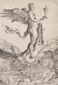"Albrecht Dürer ""Nemesis"" oder ""Das Größe Glück"", 1501/02;(con la famosa veduta di Chiusa), Bulino"