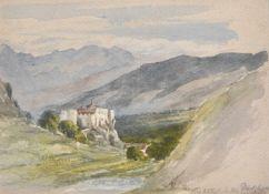 Hannah Elizabeth Taylor (England/Inghilterra 1826 – 1899)Kastelbell, um 1865;Aquarell, 12,3 x 16,6
