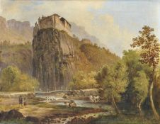 Karl (Vinzenz) Moser d. Ä. (Bozen/Bolzano 1819 – 1882)Schloss Runkelstein bei Bozen;Öl auf Leinwand,