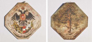 - Hoch! Dem Veteranen-Krieger-Verein Liefering, 1879; Öl auf Metall, beidseitig bemalt, 38 x 38