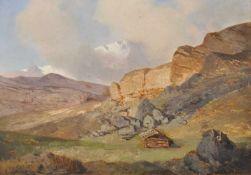 Albert Zimmermann (Zittau 1808 – München/Monaco di Baviera 1888)Alpenlandschaft;Öl auf Holz, 31 x