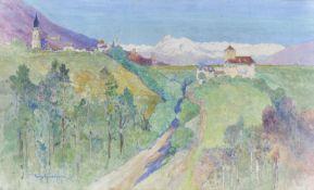 Tony Grubhofer Innsbruck 1854 – 1935)Eppaner Landschaft mit Schloss Warth und St. Pauls;Tempera