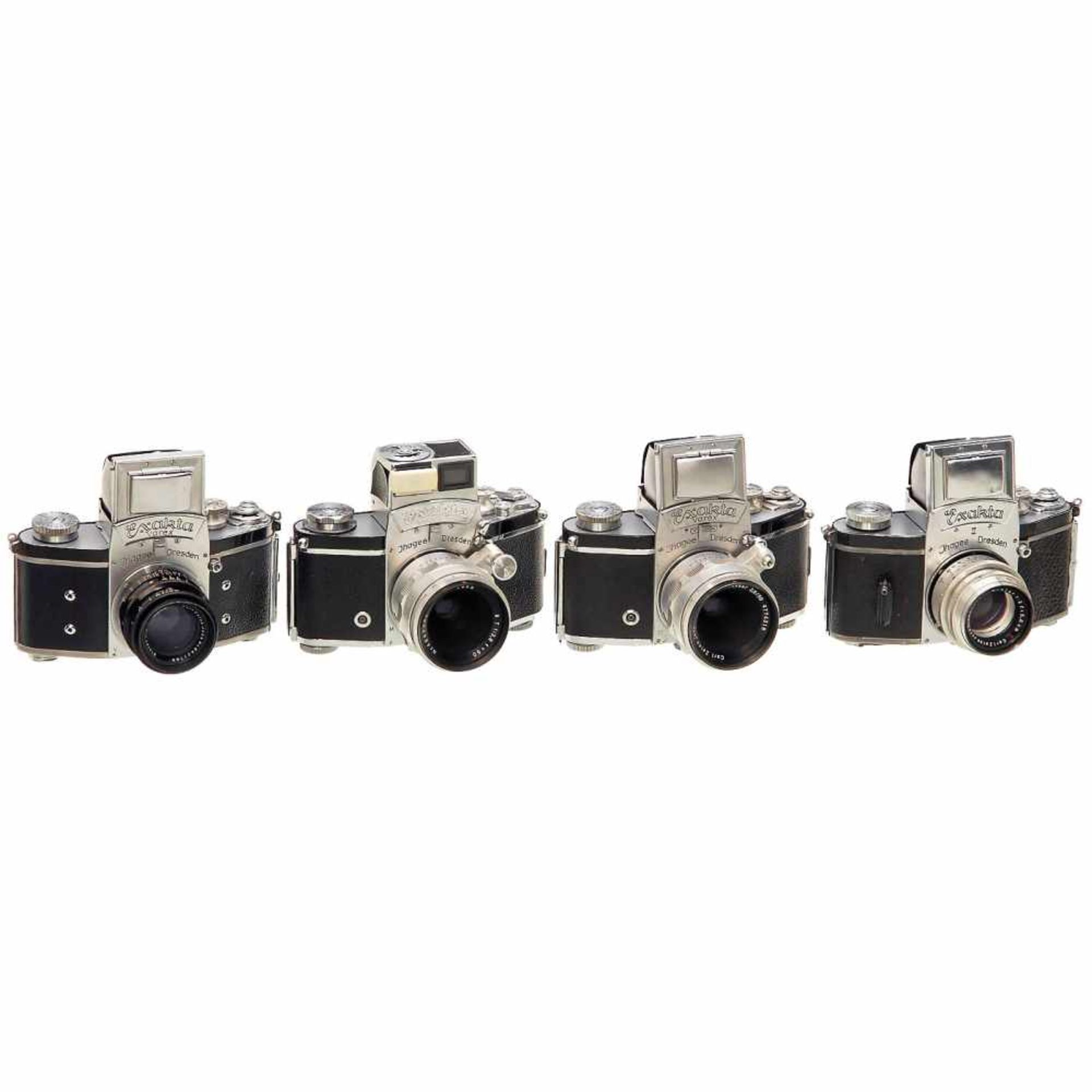 4 Exakta CamerasIhagee, Dresden. 1) Exakta II, 1949, no. 661135, Biotar 2/5,8 cm T, no. 2825389. –