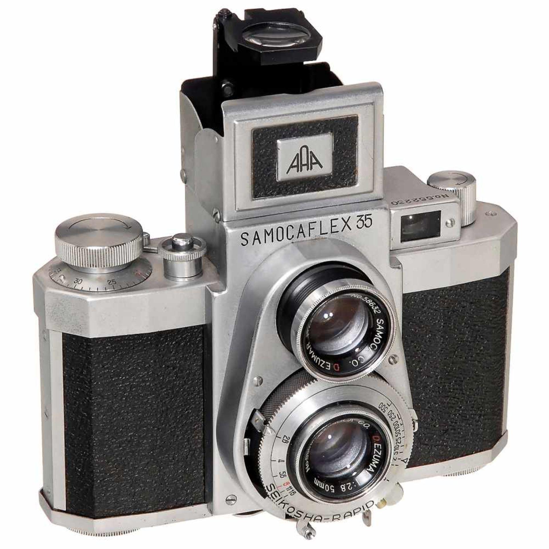 Samocaflex 35, c. 1955Sanei Sangyo, Japan. TLR camera for 35mm film, size 24 x 36 mm, No. 552230,