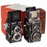 2 Zeiss Ikon TLR Cameras1) Zeiss Ikon, Dresden. Ikoflex III (853/16), c. 1938, no. B 35518, Tessar