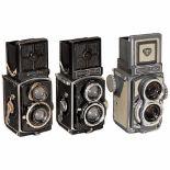 3 Rolleiflex TLR 4x4 CamerasFranke & Heidecke, Braunschweig. 1) Rolleiflex 4 x 4 (first model),