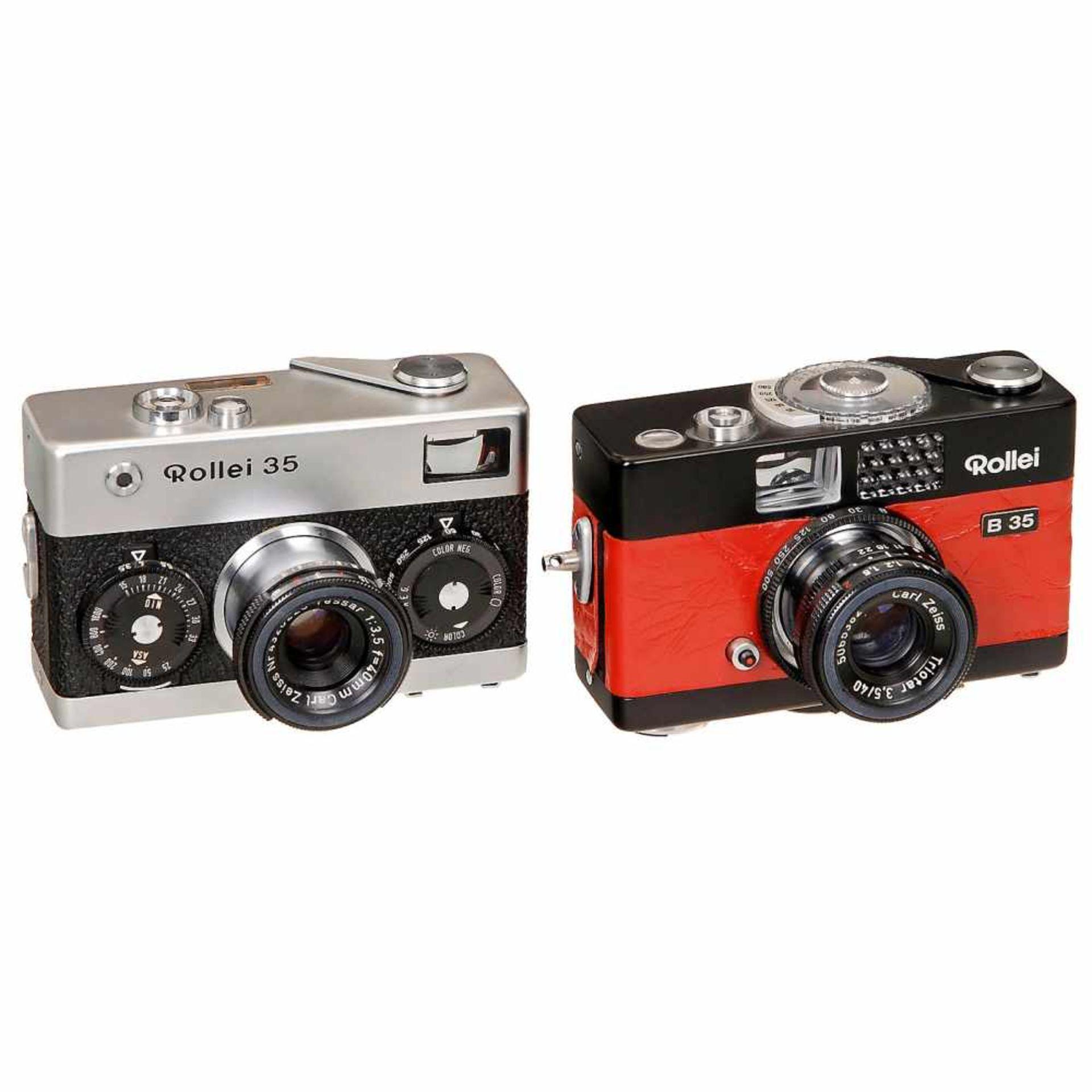 """2 Rollei 35 CamerasFranke & Heidecke, Braunschweig. 1) Rollei B 35 """"red"""", 1971, black body and red"""