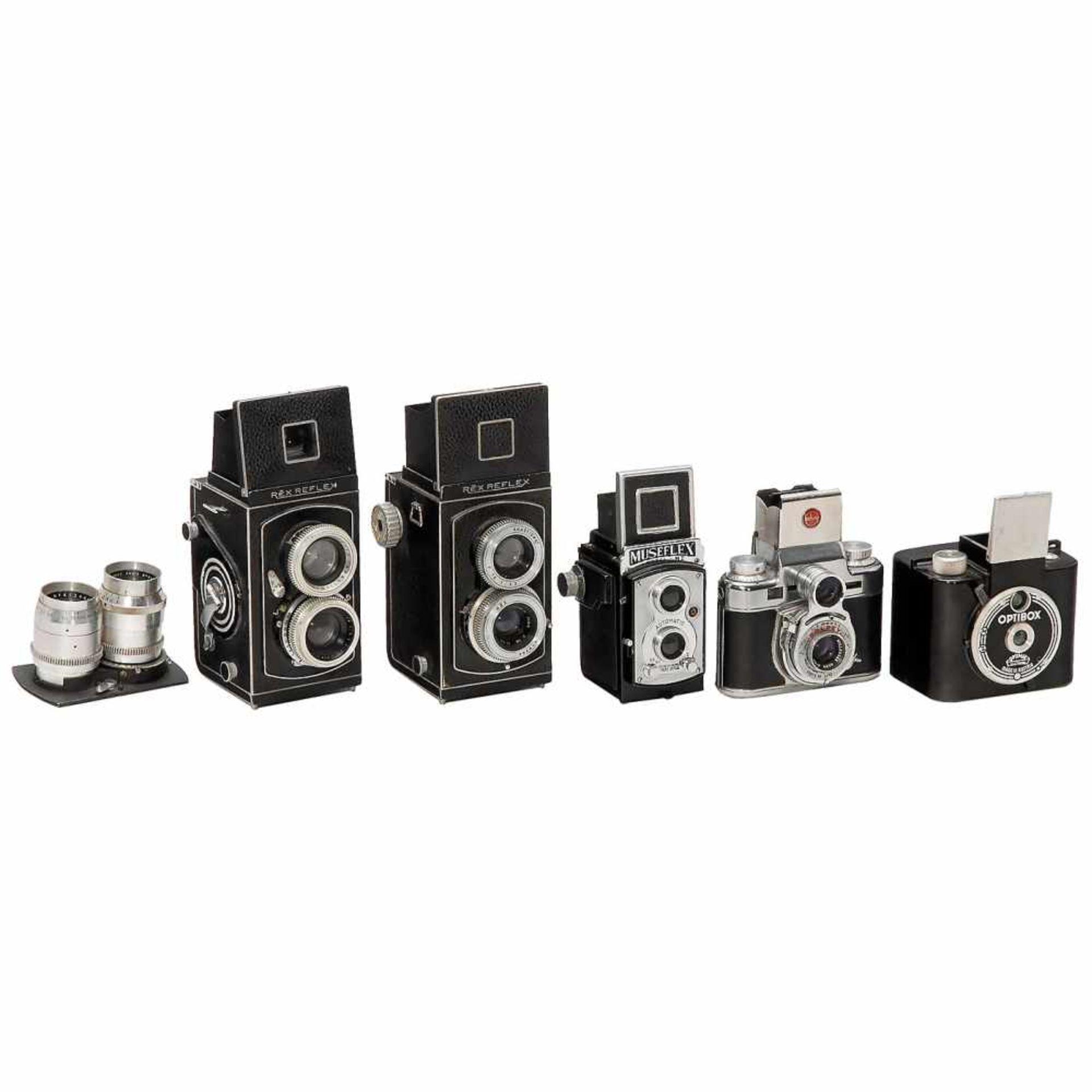 5 Binocular Cameras1–2) Photorex, France. Rex Reflex B2 and Reflex Standard, c. 1951, 1 x with
