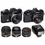 Nikon FM2n, FTn and 5 LensesNikon, Japan. 1) Nikon FM2n, black, 1983 onwards, no. N7365436,