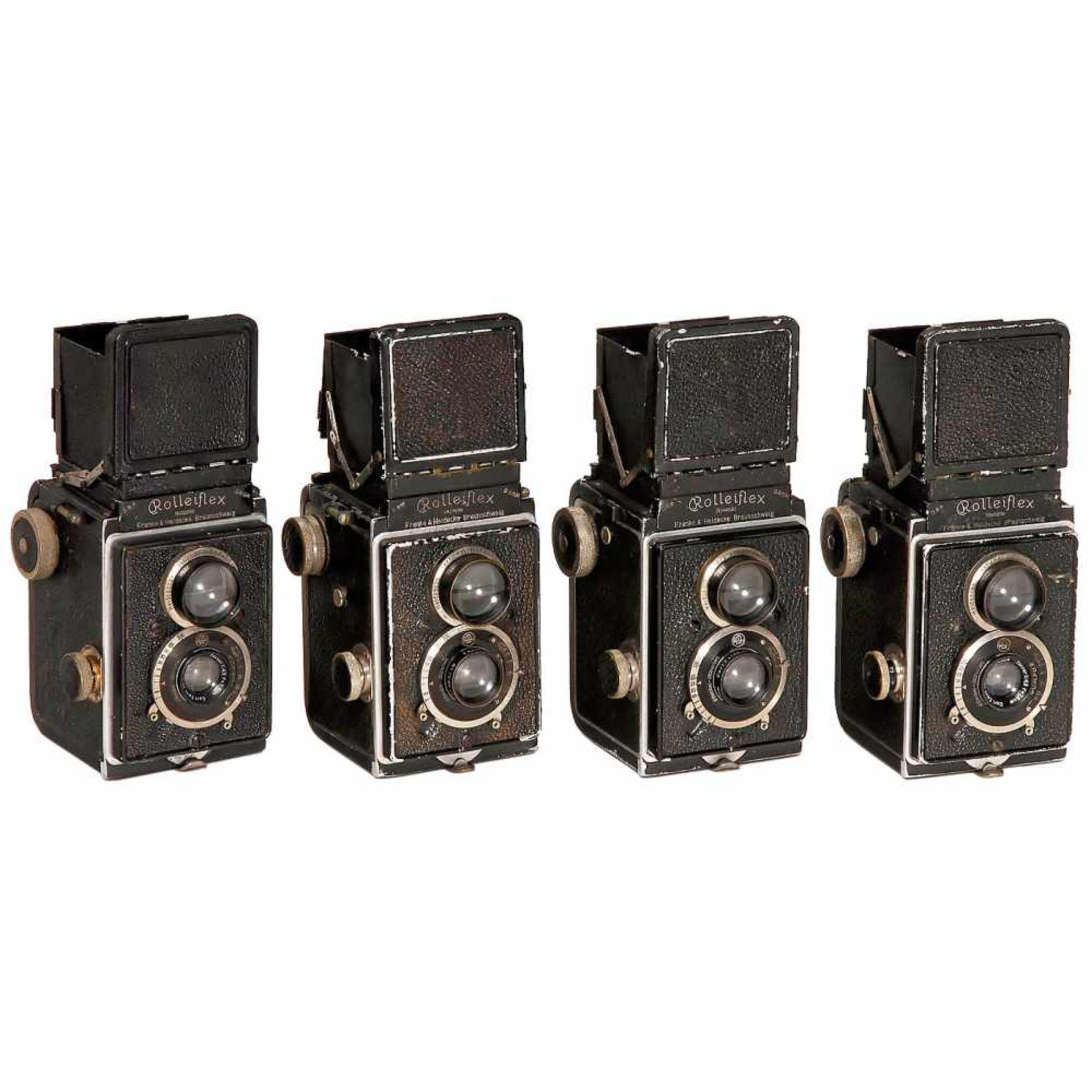 4 Rolleiflex TLR CamerasFranke & Heidecke, Braunschweig. 4 early Rolleiflex 6x6 cameras, c. 1929. 1)