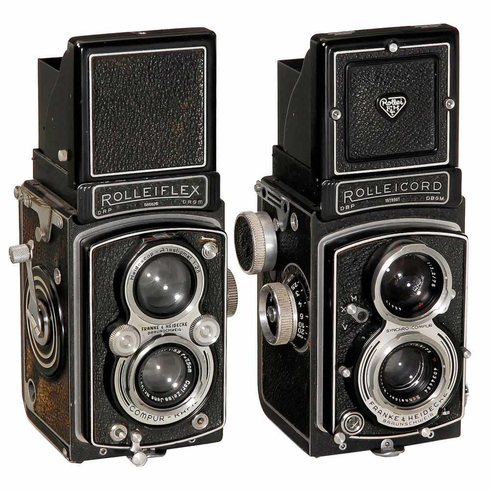 Lot 16 - 2 Rollei TLR CamerasFranke & Heidecke, Braunschweig. 1) Rolleiflex Automat, 1937, no. 586826, Tessar