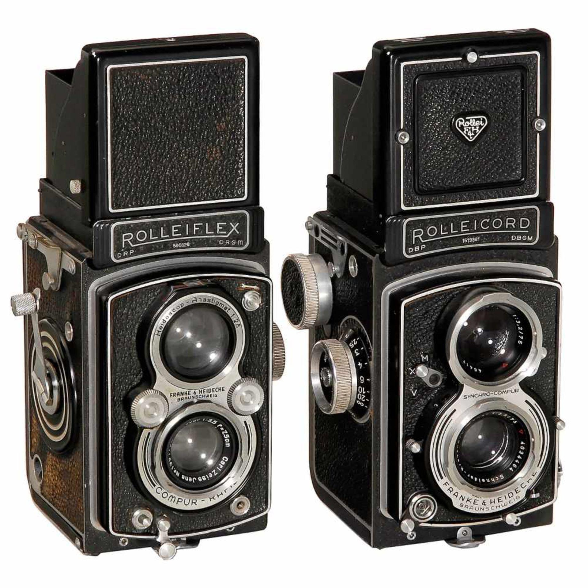 2 Rollei TLR CamerasFranke & Heidecke, Braunschweig. 1) Rolleiflex Automat, 1937, no. 586826, Tessar