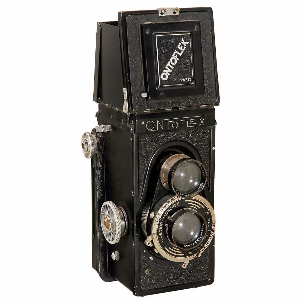 """Lot 38 - Ontoflex No. 3 (Model 2) """"Tessar"""", 1940Éts G. Cornu, Paris. TLR camera for rollfilm 6 x 9 cm, with"""
