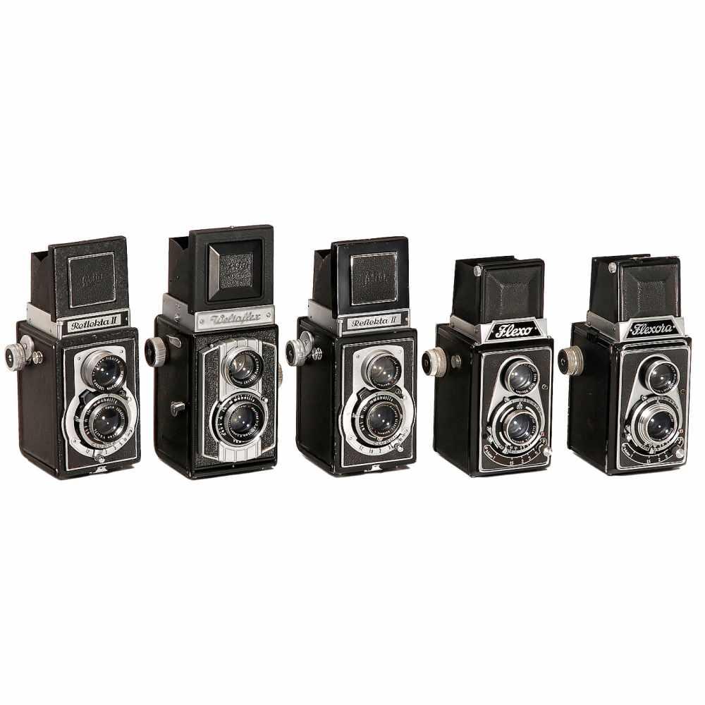 Lot 28 - 5 TLR 6x6cm Cameras1–2) Lippische Camerafabrik, Barntrup. Flexo, c. 1949, Ennar 3,5/7,5 cm in