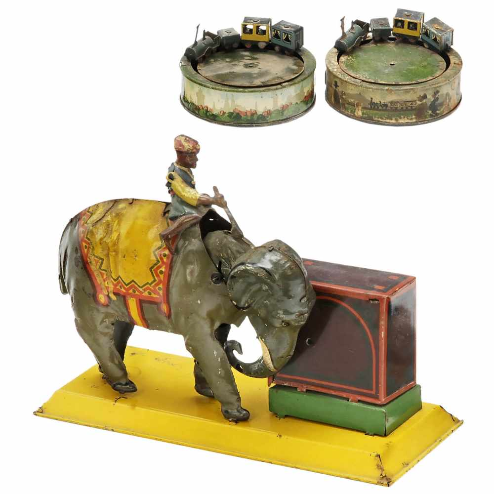 Lot 16 - 3 Tinplate Toys for Repair, c. 19351) Elephant with monkey organ, Hans Eberl, Nuremberg. - And: 2) 2