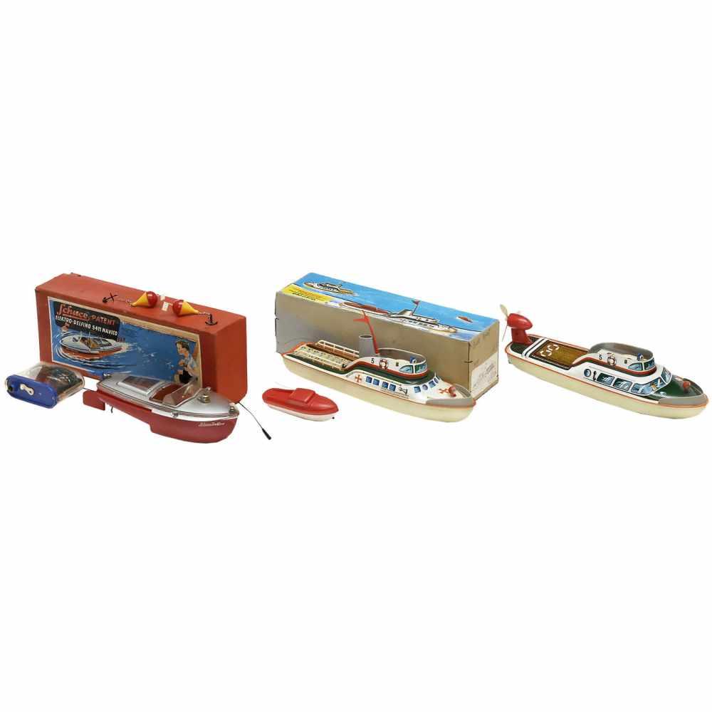 Lot 45 - 3 German Electric Toy Boats, c. 1950-601) Schuco Elektro-Delfino, no. 5411, plastic and tin, with