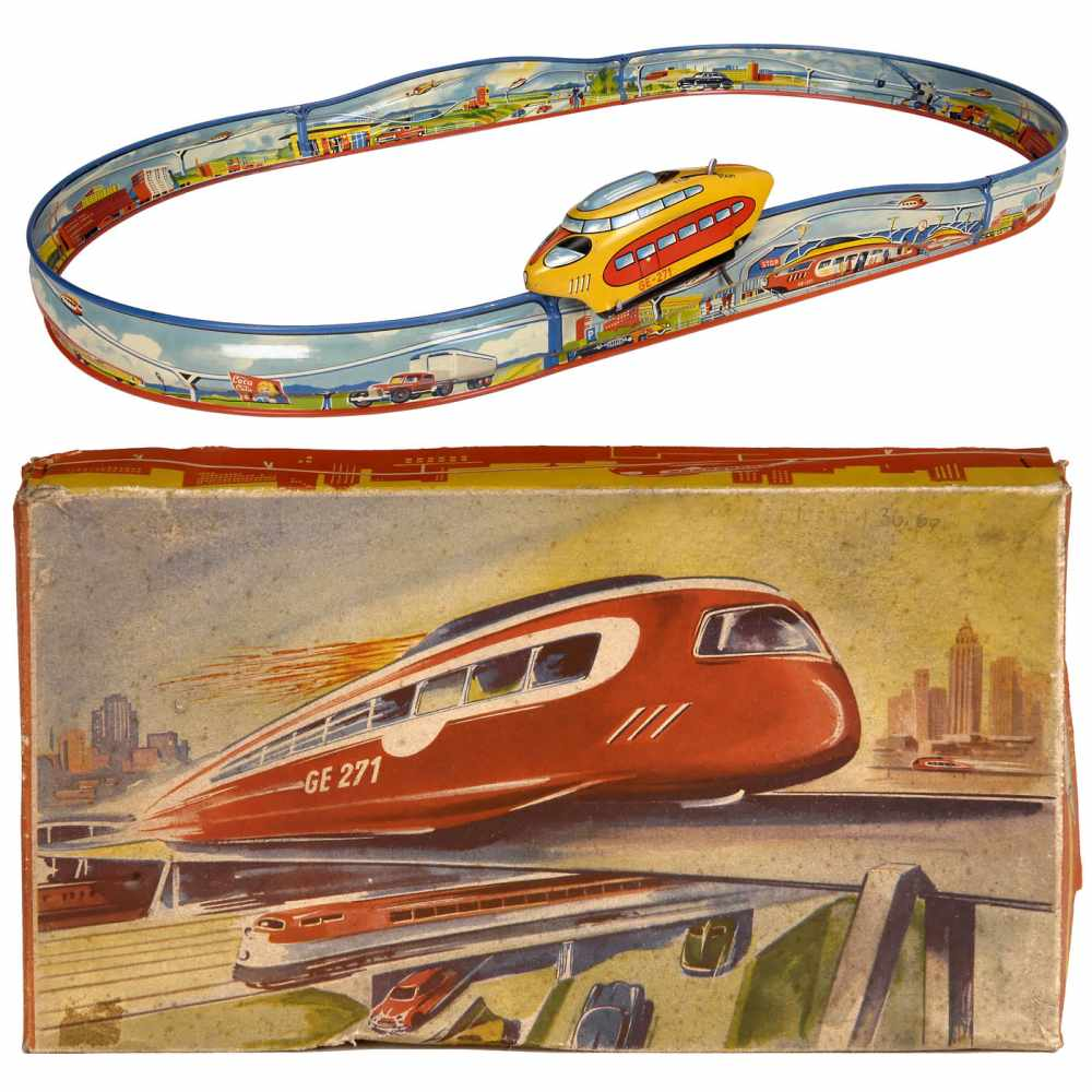 Lot 20 - Technofix No. 271 Rocket Track, c. 1955Made in US-Zone Germany, lithographed tin, spring-driven, a