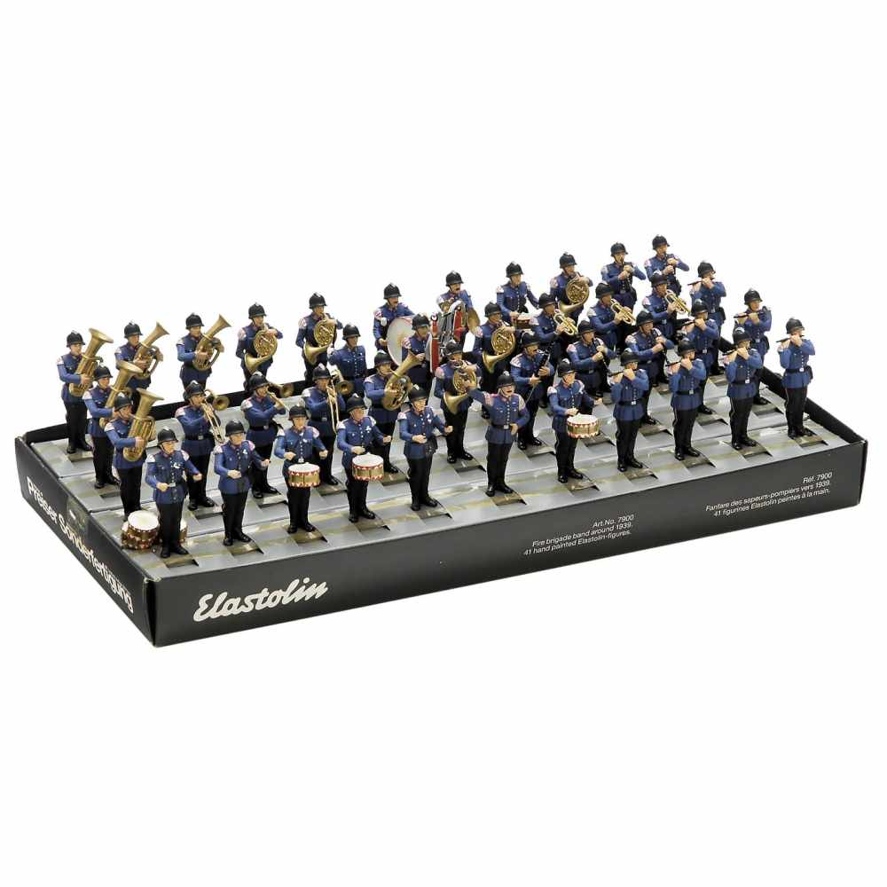 Lot 37 - Elastolin Fire Brigade Band, c. 1990No. 7900, 41 hand-painted figures from the 7cm series, with