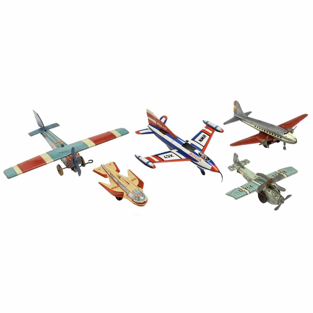 Lot 50 - 5 Tinplate Toy Airplanes1) R.S.A. 33, made by Rico, Spain, autogyro plane, spring-motor, working,