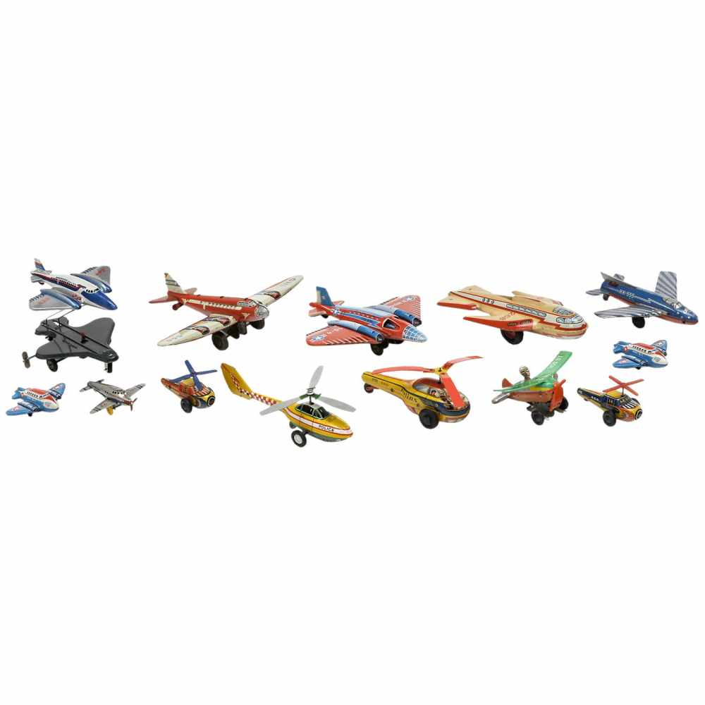 Lot 43 - 13 Toy Airplanes and Helicopters, c. 1955Made by Technofix, Huki, B&S and Hammerer & Kühlwein,