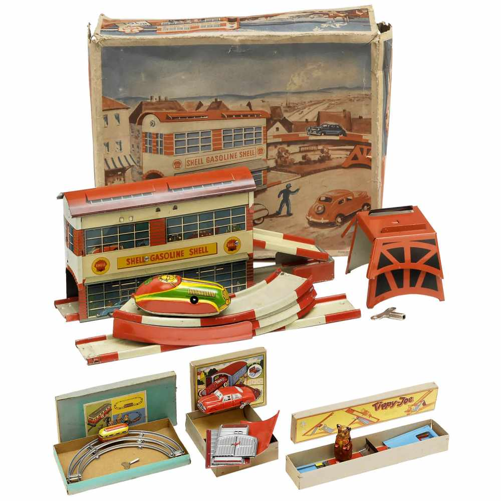 Lot 60 - 4 Tinplate Toys by Höfler, c. 1950Johann Höfler, Fürth, Germany. Lithographed tin, spring-driven (