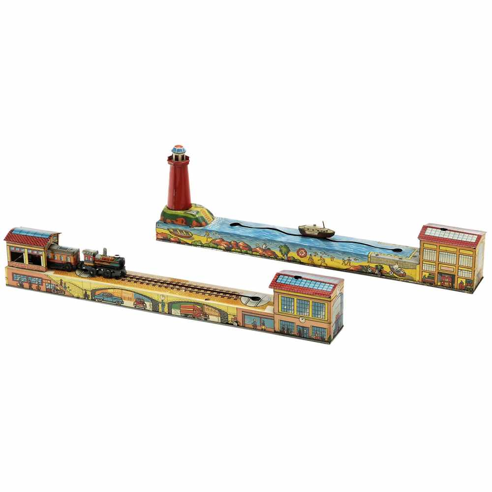 Lot 31 - 2 Turning-Track Toys by Arnold, c. 1955Karl Arnold, Nuremberg. Lithographed tin, spring-driven (