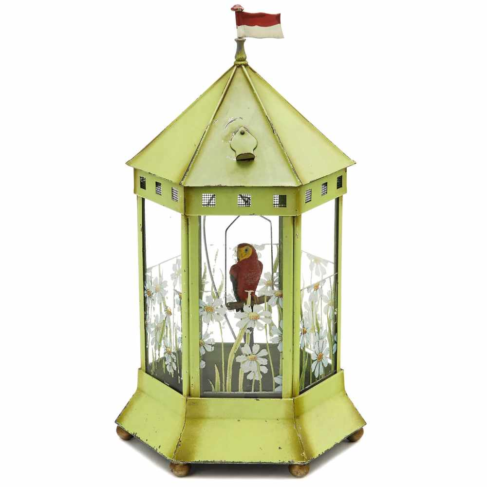 Lot 22 - Aviary with Elastolin Parrot, c. 1930Designed as a cage for viewing insects, green painted sheet