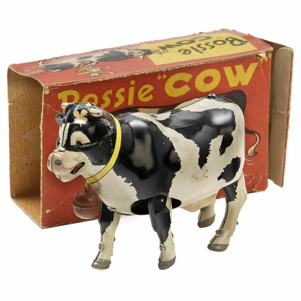 """Lot 18 - """"Bossie Cow"""" Toy by Alps, c. 1955Japan. Patent no. 373980, lithographed tin, spring-driven ("""