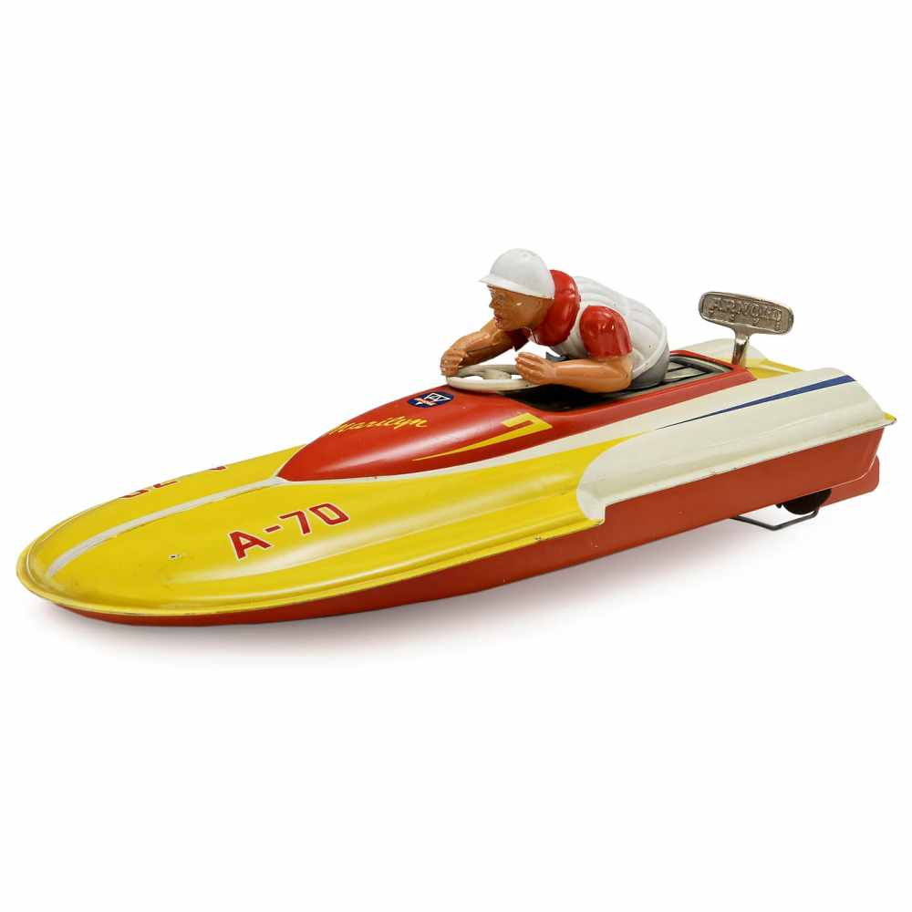 """Lot 40 - """"Marilyn"""" Speed Boat by Arnold, c. 1955Karl Arnold, Nuremberg. No. A-70, lithographed tin, spring-"""