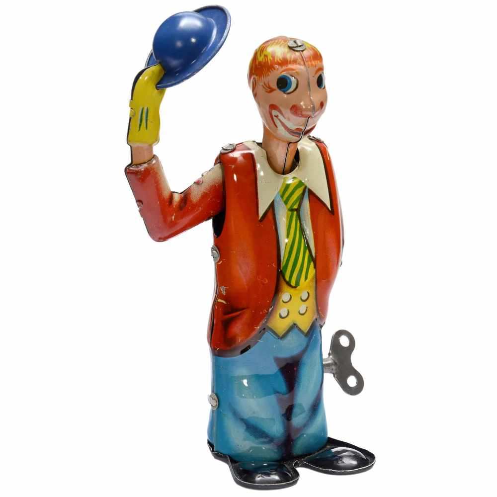 "Lot 7 - ""Jonny the Clown with the Hat"", 1955Nürnberger Blechspielwaren. Lithographed tin, spring-driven ("