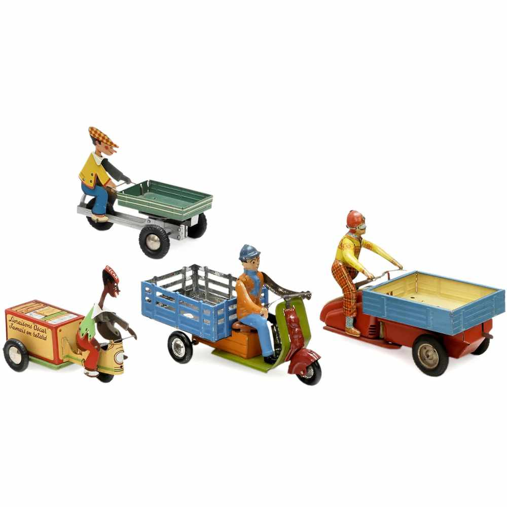 Lot 25 - 4 Tricycles with Riders, 1950s1) Johann Distler, Nuremberg. Length 5 ½ in., friction, working. -