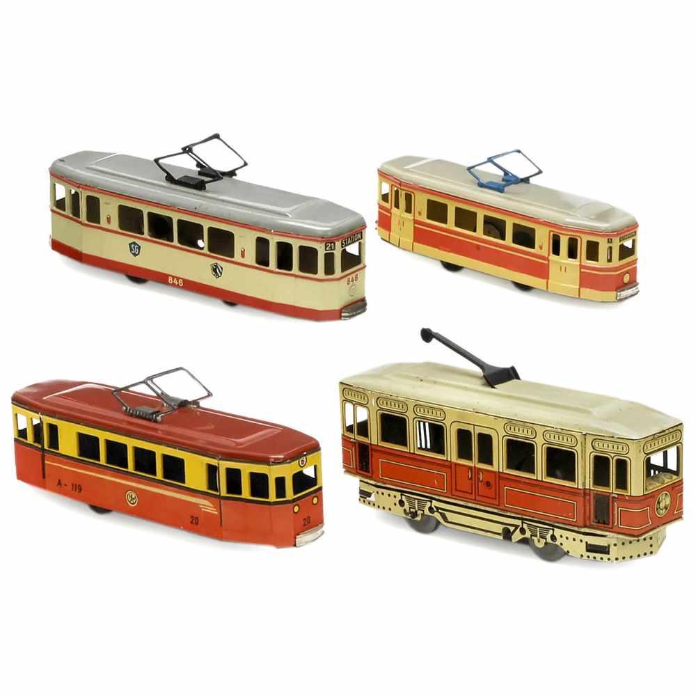 "Lot 44 - 4 Toy Trams1) Günthermann Berlin Tram No. 846, c. 1958, Siegfried Günthermann, Nuremberg, marked """