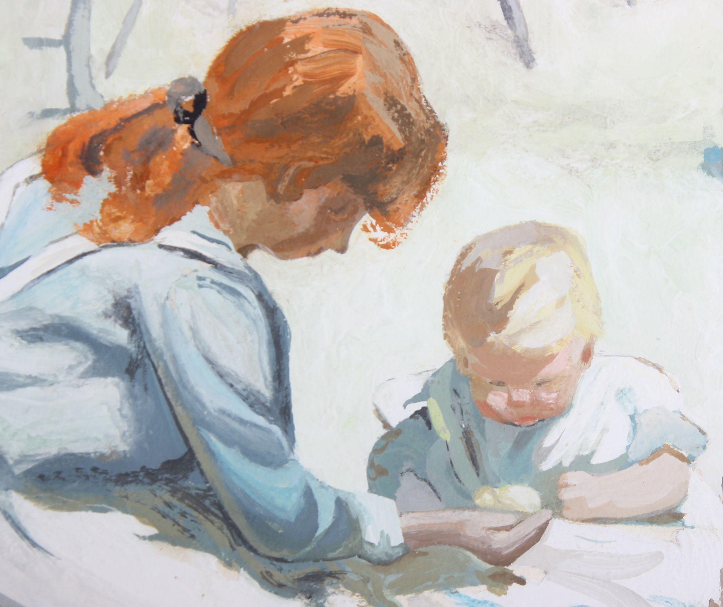 Lot 129 - Dorothea Sharp ROI, RBA (British, 1874-1955), 'Feeding the Chickens'. Oil on board, signed