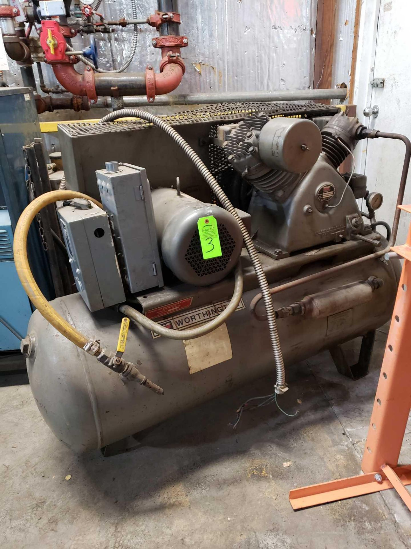 Lot 3 - Worthington 10HP air compressor. 208-230/460v, 3 phase baldor motor