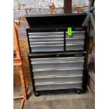 "Lot 6 - Husky top and bottom rolling tool box. Overall dimensions 40"" wide x 58"" tall. Shows limited use"