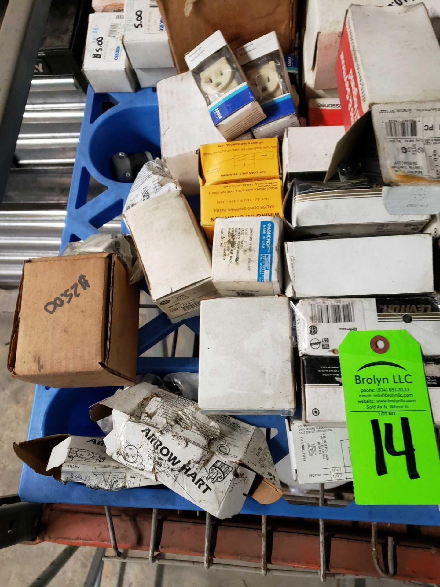 Lot 14 - Large lot of assorted electrical. Mostly new in box.