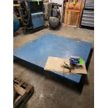 """Lot 7 - Platform freight scale with Transcell TI-500E digital readout. 72""""x72"""" steel deck platform. Appears"""