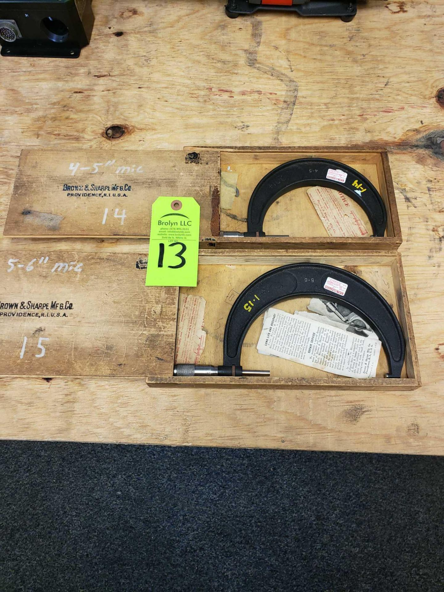 "Lot 13 - Qty 2 - Brown and Sharpe 4-5"" and 5-6"" micrometers"